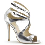 Amuse Metallic Silver Curvy Sandal at ShoeOodles Shoes for Women, Men and Children,  Oodles of Shoes for Men, Women & Children