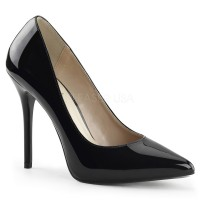 Amuse Black Patent 5 Inch High Heel Pump