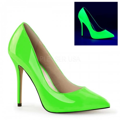 Amuse Neon Green 5 Inch High Heel Pump at ShoeOodles Shoes for Women, Men and Children,  Oodles of Shoes for Men, Women & Children