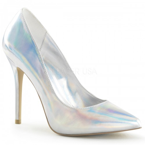 Amuse Silver Hologram 5 Inch High Heel Pump at ShoeOodles Shoes for Women, Men and Children,  Oodles of Shoes for Men, Women & Children