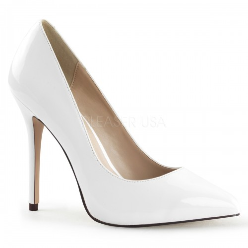 Amuse White 5 Inch High Heel Pump at ShoeOodles Shoes for Women, Men and Children,  Oodles of Shoes for Men, Women & Children