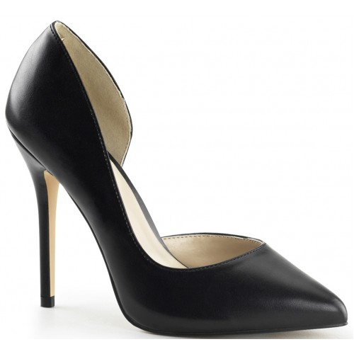 Amuse Black Faux Leather 5 Inch High Open Side Pump at ShoeOodles Shoes for Women, Men and Children,  Oodles of Shoes for Men, Women & Children