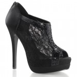 Bella Black Lace Peep Toe Bootie at ShoeOodles Shoes for Women, Men and Children,  Oodles of Shoes for Men, Women & Children