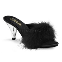 Belle Black Maribou Satin Slipper