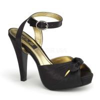 Tie Front Bettie Black Satin Sandal