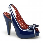 Bettie Navy Blue Patent Slingback Pump at ShoeOodles Shoes for Women, Men and Children,  Oodles of Shoes for Men, Women & Children