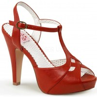 Red Bettie-23 Peep Toe Vintage T-Strap Sandals