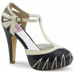 Cream and Black T-Stap Vintage Womens Sandals at ShoeOodles,  Oodles of Shoes for Men, Women & Children