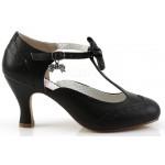 Flapper Black T-Strap Bow Pump at ShoeOodles Shoes for Women, Men and Children,  Oodles of Shoes for Men, Women & Children