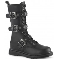 Bolt Mens Combat 14-Eyelet Boot with Buckled Straps