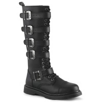 Bolt Mens Knee High Combat Boot with Buckled Straps