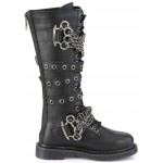 Chained Bolt Mens Combat Knee High Biker Boot