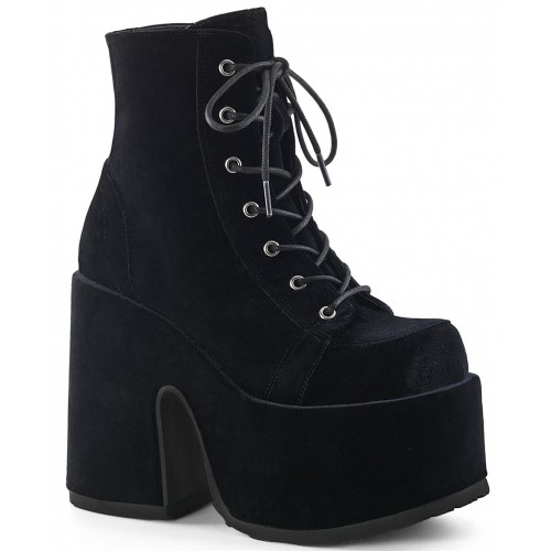 Black Velvet Camel Chunky Heel Platform Boots at ShoeOodles Shoes for Women, Men and Children,  Oodles of Shoes for Men, Women & Children