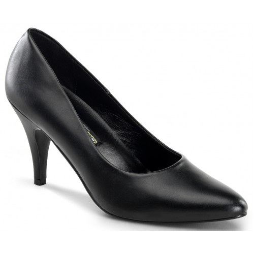 Black Faux Leather Essential Pump 420 3 Inch Heel Shoe at ShoeOodles Shoes for Women, Men and Children,  Oodles of Shoes for Men, Women & Children