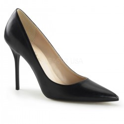 Classique Black Faux Leather 4 Inch High Heel Pump ShoeOodles Shoes for Women, Men and Children  Oodles of Shoes for Men, Women & Children