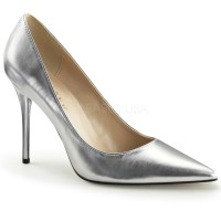 Silver Metallic Classique Pointed Toe Pump