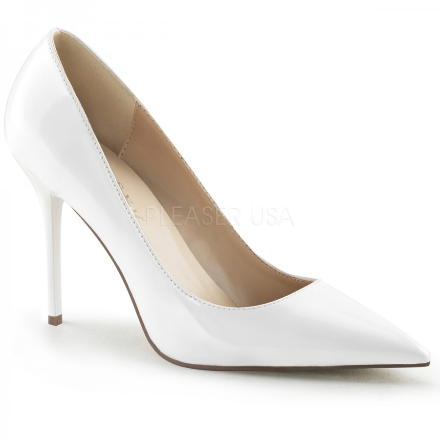 White Classic High Heel Pointed Toe Pump - Classic Womens Shoe