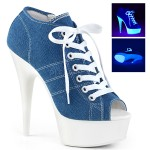 Denim Blue High Heel Peep Toe Sneaker at ShoeOodles Shoes for Women, Men and Children,  Oodles of Shoes for Men, Women & Children