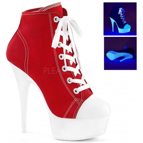 Red and White High Heel Platform Sneaker at ShoeOodles Shoes for Women, Men and Children,  Oodles of Shoes for Men, Women & Children