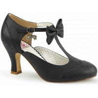 Flapper Black T-Strap Bow Pump