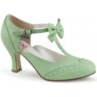 Flapper Mint Green T-Strap Bow Pump
