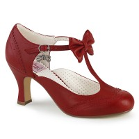 Flapper Red T-Strap Bow Pump