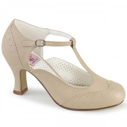 Flapper Cream T-Strap Pump at ShoeOodles Shoes for Women, Men and Children,  Oodles of Shoes for Men, Women & Children