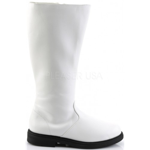 Captain Mid Calf Plain White Stormtrooper Boots at ShoeOodles Shoes for Women, Men and Children,  Oodles of Shoes for Men, Women & Children