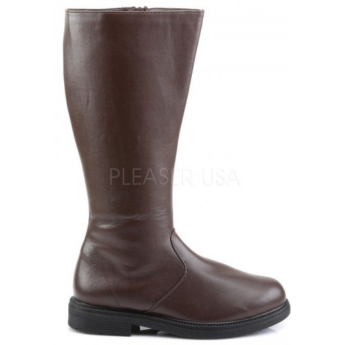 Captain Mid Calf Plain Brown Boots at ShoeOodles Shoes for Women, Men and Children,  Oodles of Shoes for Men, Women & Children