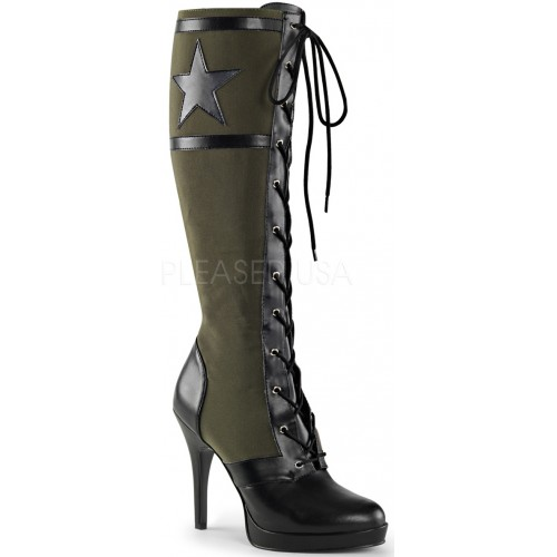 Arena Army Green Knee Boots for Women at ShoeOodles Shoes for Women, Men and Children,  Oodles of Shoes for Men, Women & Children