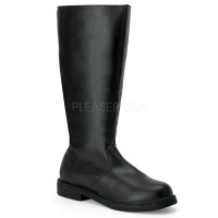 Captain Mid Calf Plain Black Boots