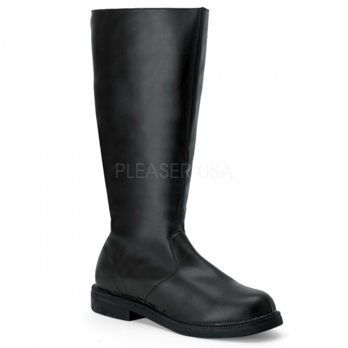 Captain Mid Calf Plain Black Boots at ShoeOodles Shoes for Women, Men and Children,  Oodles of Shoes for Men, Women & Children