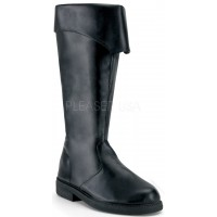 Captain Mid Calf Cuffed Black Boots