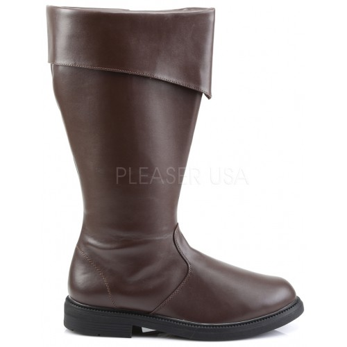 Captain Mid Calf Cuffed Brown Boots at ShoeOodles Shoes for Women, Men and Children,  Oodles of Shoes for Men, Women & Children