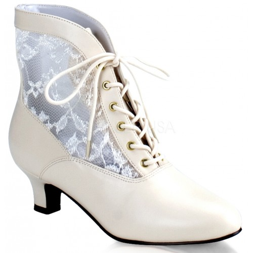 Victorian Dame Ivory Ankle Boot at ShoeOodles Shoes for Women, Men and Children,  Oodles of Shoes for Men, Women & Children