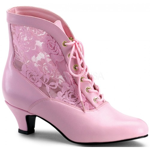 Victorian Dame Baby Pink Ankle Boot at ShoeOodles Shoes for Women, Men and Children,  Oodles of Shoes for Men, Women & Children