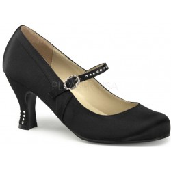 Flapper Black Satin Mary Jane Pump ShoeOodles Shoes for Women, Men and Children  Oodles of Shoes for Men, Women & Children