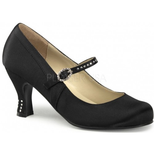 Flapper Black Satin Mary Jane Pump at ShoeOodles Shoes for Women, Men and Children,  Oodles of Shoes for Men, Women & Children