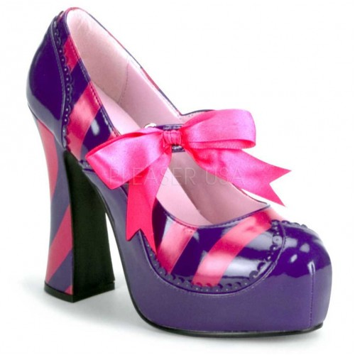 Kitty Purple and Hot Pink Striped Pump at ShoeOodles Shoes for Women, Men and Children,  Oodles of Shoes for Men, Women & Children