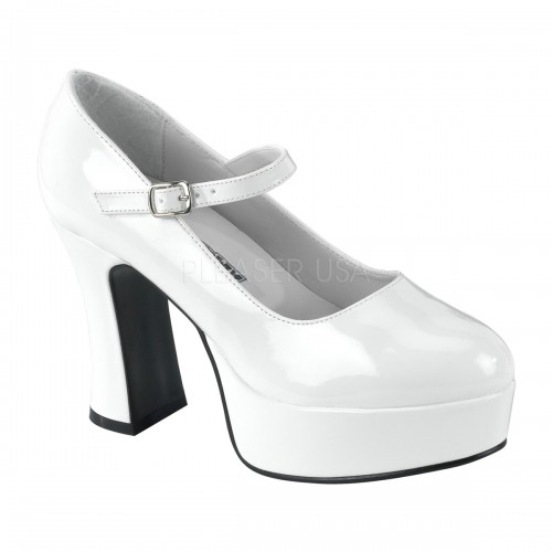 White Mary Jane Square Heeled Pump at ShoeOodles Shoes for Women, Men and Children,  Oodles of Shoes for Men, Women & Children