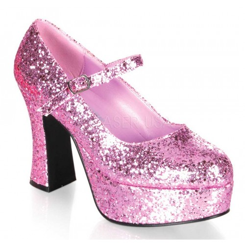 Baby Pink Mary Jane Glitter Square Heeled Pump at ShoeOodles Shoes for Women, Men and Children,  Oodles of Shoes for Men, Women & Children