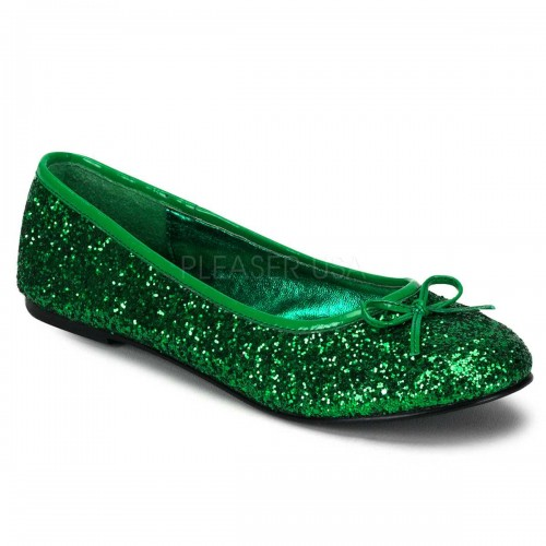 Star Green Glittered Ballet Flat at ShoeOodles Shoes for Women, Men and Children,  Oodles of Shoes for Men, Women & Children