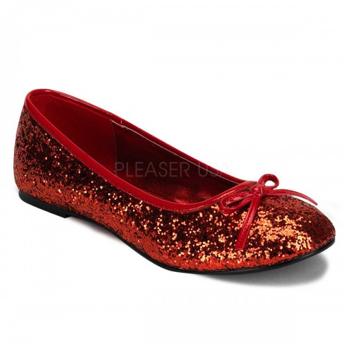 Star Red Glittered Ballet Flat at ShoeOodles Shoes for Women, Men and Children,  Oodles of Shoes for Men, Women & Children