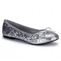 Star Silver Glittered Ballet Flat