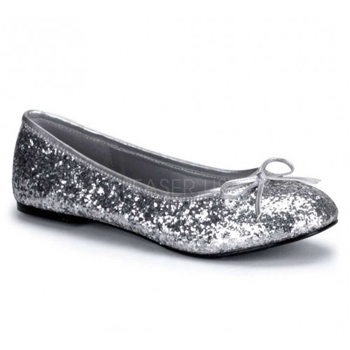 Star Silver Glittered Ballet Flat at ShoeOodles Shoes for Women, Men and Children,  Oodles of Shoes for Men, Women & Children