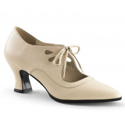 Victorian Cream Cut Out Womens Pump