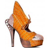 Astro Orange Snakeskin Platform Steampunk Pump