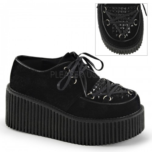 Black Faux Suede Studded Womens Creeper at ShoeOodles Shoes for Women, Men and Children,  Oodles of Shoes for Men, Women & Children