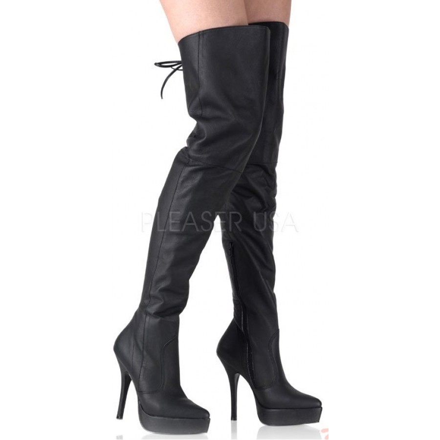 Indulge Platform Leather Thigh High Boot - Genuine Leather Over ...