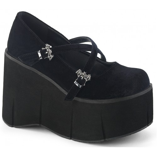 Kera Black Velvet Bat Buckled Platform Pump at ShoeOodles Shoes for Women, Men and Children,  Oodles of Shoes for Men, Women & Children